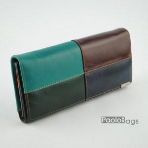 Дамско портмоне от естествена кожа с комбинация от цветове 20325