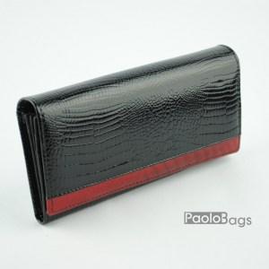 Дамско портмоне от естествена кожа лачено черно 20332