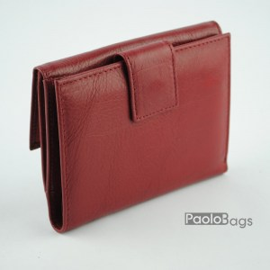 Дамско портмоне от естествена кожа малко червено 20344