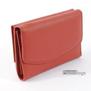Дамско портмоне с цип и много прегради от естествена кожа компактно 20405