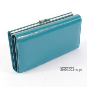 Дамско портмоне с цип и много прегради от естествена кожа компактно 204112
