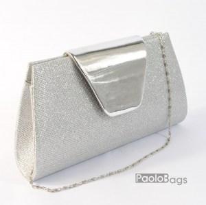 Дамска чанта тип клъч плик вечерна официална сребърна абитуриентска