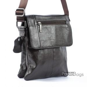 Мъжка чанта от естествена кожа телешки бокс кафява мека кожа 20462
