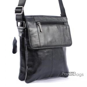 Мъжка чанта от естествена кожа телешки бокс черна мека кожа 20463