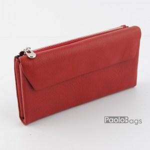 Дамско портмоне с цип и много отделения червено 21615
