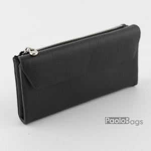 Дамско портмоне с цип и много отделения черно 21616