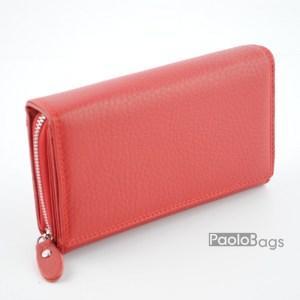 Дамско портмоне от естествена кожа в червен цвят 21613