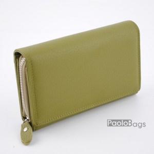 Дамско портмоне от естествена кожа в пастелно зелен цвят 21612