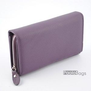 Дамско портмоне от естествена кожа в пастелно лилав цвят 21611