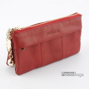 Червено дамско портмоне с цип 21637