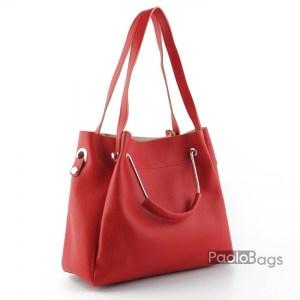 Дамска чанта с комбинирани дръжки 21663