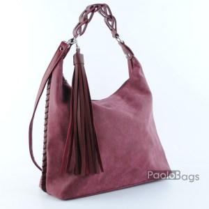Червена дамска чанта тип торба 21036-2