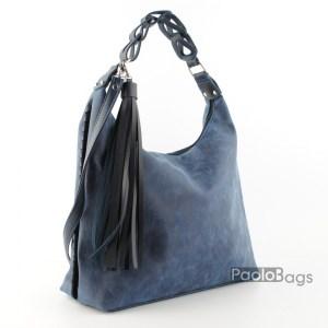 Синя дамска чанта тип торба 21036-1