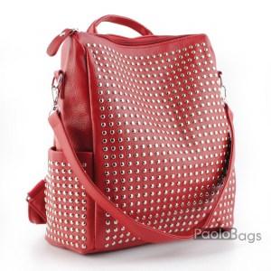 Червена дамска раница с капси 22035
