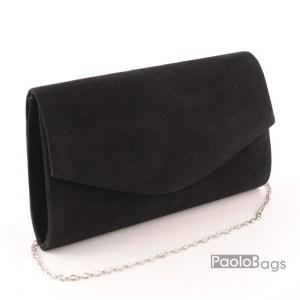 Дамска чанта тип клъч плик вечерна официална черна абитуриентска черна велур