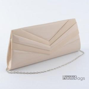 Бежова дамска чанта тип клъч плик вечерна официална с ефектни ивици стилна пепел