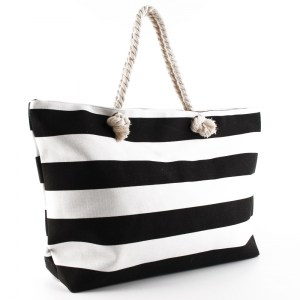 Плажна чанта голяма на черни райета 23021