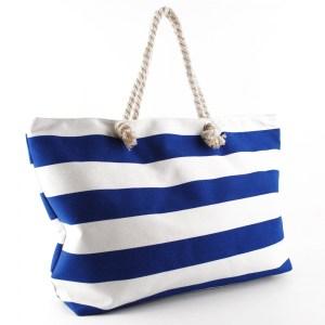 Плажна чанта голяма на сини райета 23022