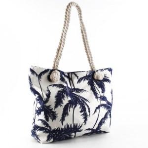 Плажна чанта светла с палми 23033