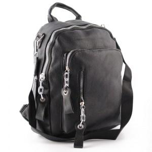 Дамска раница черна 2в1 и чанта с джоб с ефектни ципове