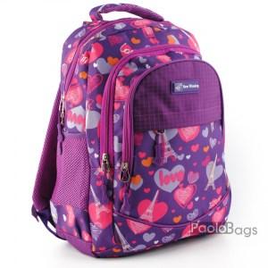 Лилава ученическа раница евтина за момичета с ортопедичен гръб с пастелни цветове