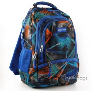 Синя ученическа раница евтина за момчета с ортопедичен гръб с пастелни цветове