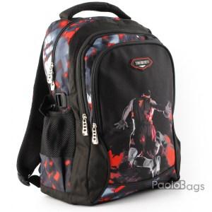 Ученическа раница черна с червено качествена за момчета