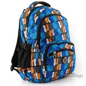 Ученическа раница качествена синя за момче с ортопедичен гръб с пастелни цветове