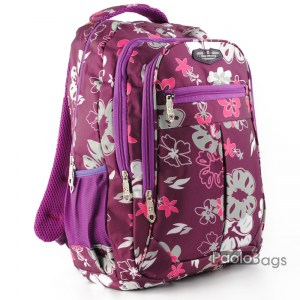 Ученическа раница евтина с цветя лилава