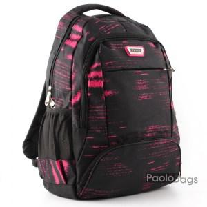 Ученическа раница евтина тъмна с розово