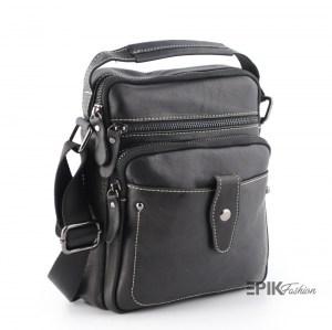 Мъжка чанта от естествена кожа луксозна с декоративен шев