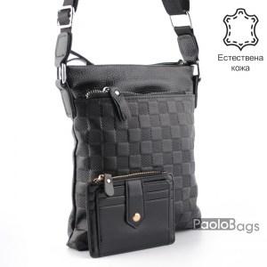 Луксозна мъжка чанта от естествена кожа за през рамо 23502