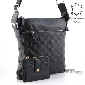 Луксозна мъжка чанта от естествена кожа за през рамо 23503