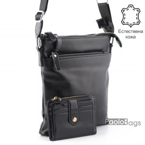 Луксозна мъжка чанта от естествена кожа за през рамо 23504