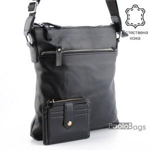 Луксозна мъжка чанта от естествена кожа за през рамо 23505