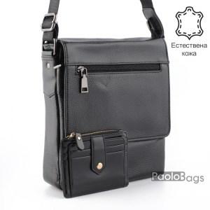 Луксозна мъжка чанта от естествена кожа за през рамо 23507