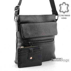 Луксозна мъжка чанта от естествена кожа за през рамо 23510