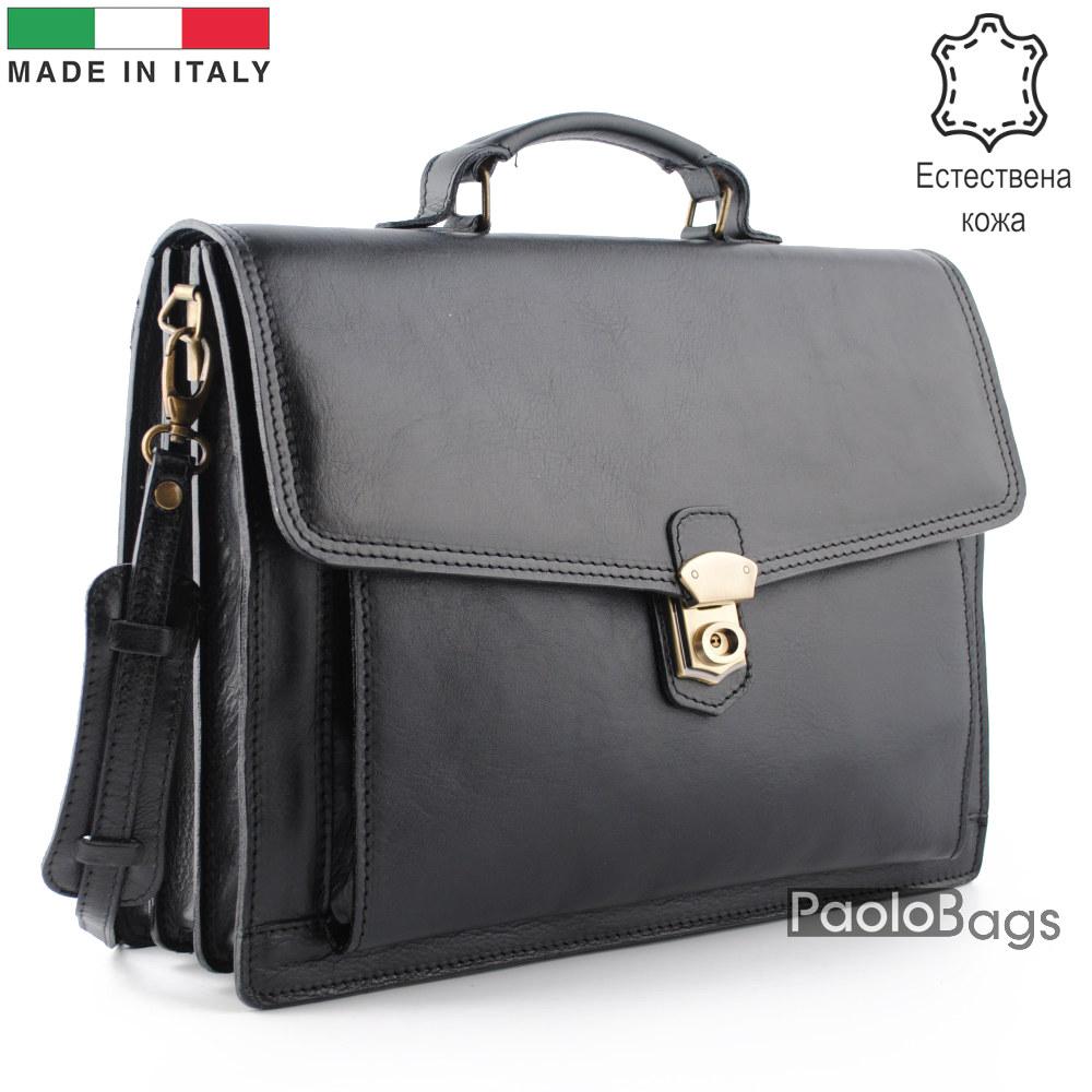 Бизнес чанта от естествена кожа с три отделения модел номер 25001