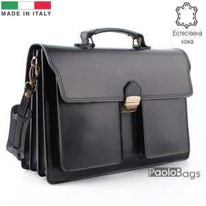 Бизнес чанта от естествена кожа с три отделения модел номер 25002