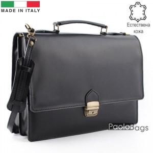 Бизнес чанта от естествена кожа с две отделения модел номер 25004 черна
