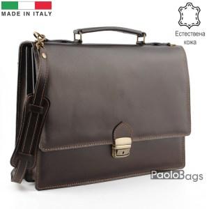 Бизнес чанта от естествена кожа с две отделения модел номер 25003