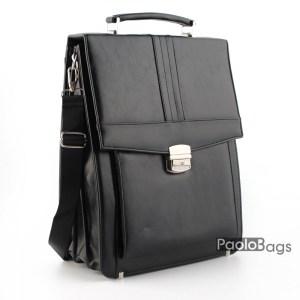 Бизнес чанта вертикална с три отделения модел номер 25005 черна