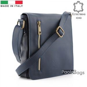 Луксозна мъжка чанта от естествена кожа италианска за през рамо 25009 синя