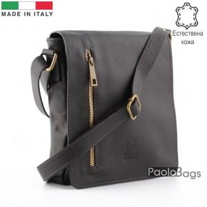 Луксозна мъжка чанта от естествена кожа италианска за през рамо 25011 кафява