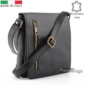Луксозна мъжка чанта от естествена кожа италианска за през рамо 25012 черна