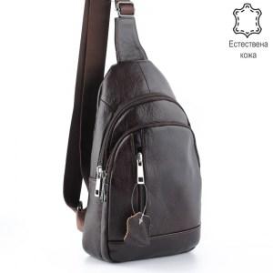 Мъжка чанта от естествена кожа тип банан за гръб или на гърди 25013 кафява