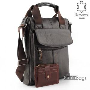 Мъжка бизнес чанта от естествена кожа силна за документи 14994-3