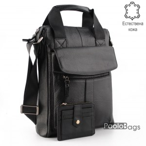 Мъжка бизнес чанта от естествена кожа силна за документи 14994-4