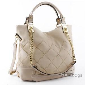 Дамска чанта с двойна дръжка със синджири бежова 18293