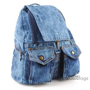 Дънкова дамска раница обемна става за формат А4 лека удобна и практична с две предни джобчета